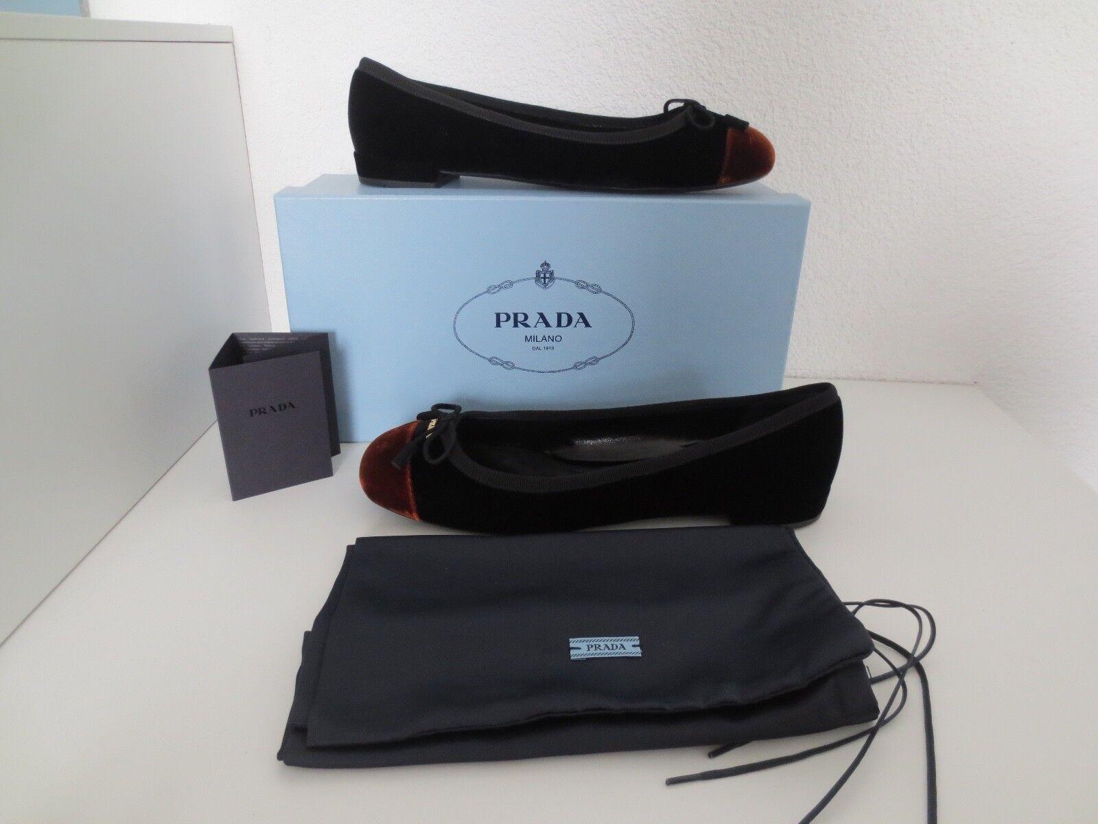 PRADA BALLERINE TG 38,5 Nero/Tabasco BICOLOR velluto Scarpe in pelle ballerina