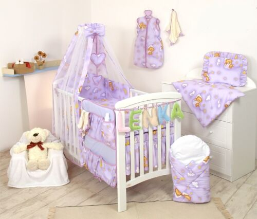 BEDDING SET COT /& COT BED 3 or 4,5,8,9 PCS PILLOW,DUVET,BUMPER CANOPY-100/%COTTON