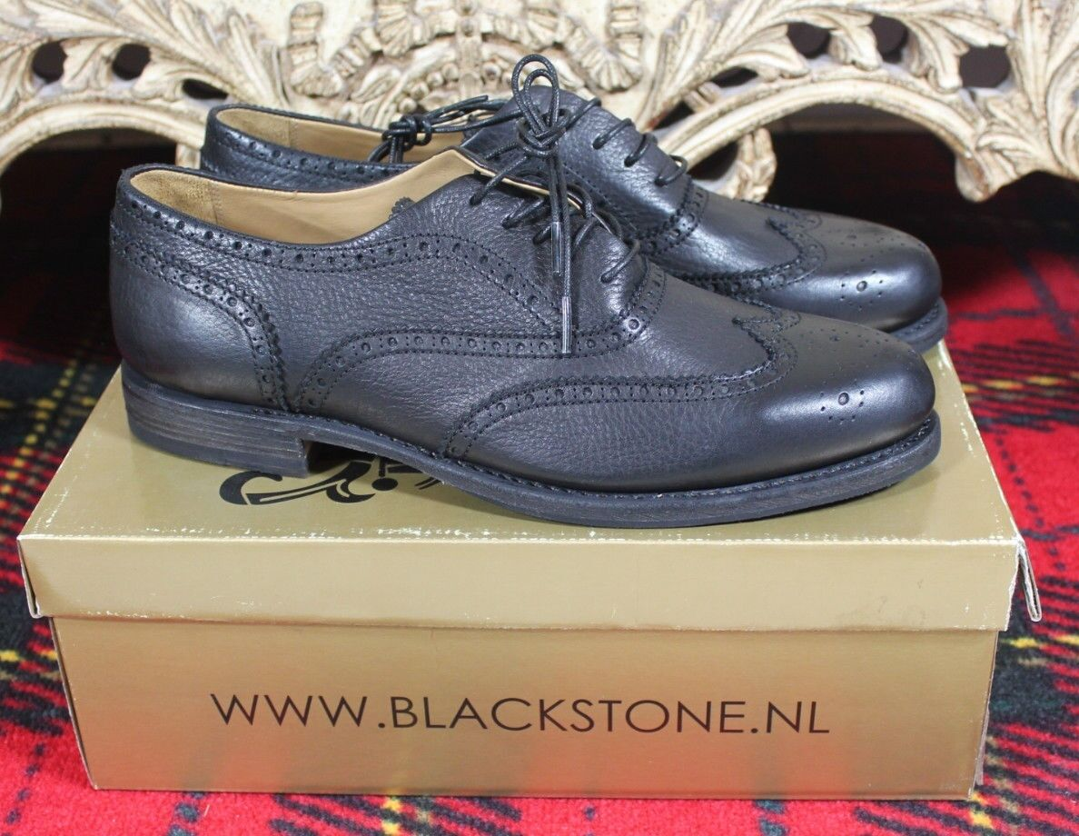 BLACKSTONE Mens Black Leather Wing Tip Oxford Punched Lace up shoes 45 NIB 12
