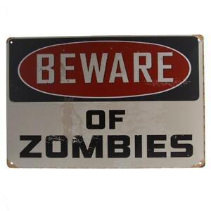 Vintage-BEWARE-OF-ZOMBIES-Metal-Tin-Sign-Picture-Wall-Door-DIY-Decor-Plaque