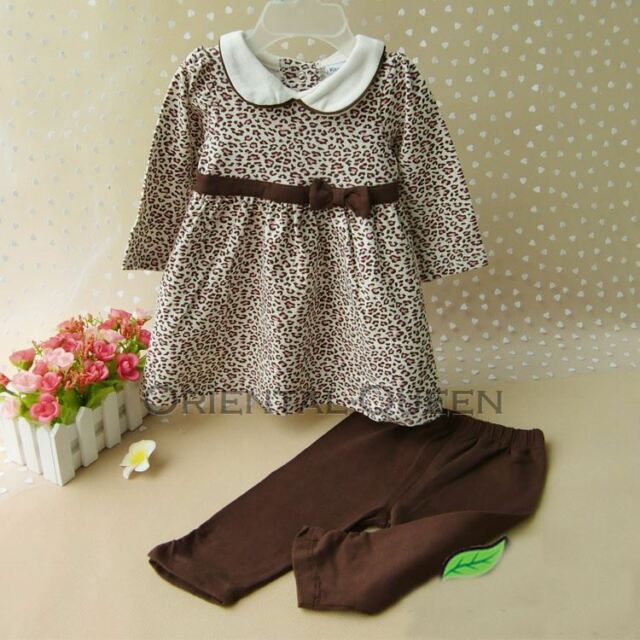 Baby Toddler Children Girls Clothes New Leopard Tops+Pants Sets Outfits