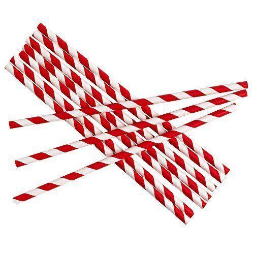 Retro Red /& White Stripe Premium Biodegradable Paper Straws Pack of 250