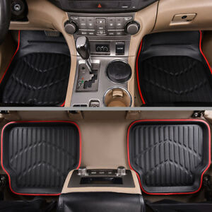 Car-Floor-Mat-Universal-Premium-Black-Red-Side-Front-With-Rear-Faux-Leather-4-PC