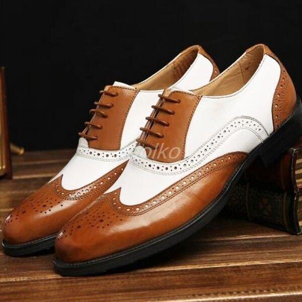 Hombre Cuero Real Cuero Calado Punta del ala Talla Talla ala De Negocio Con Cordones Vestido Formal Zapatos Talla cb40d9