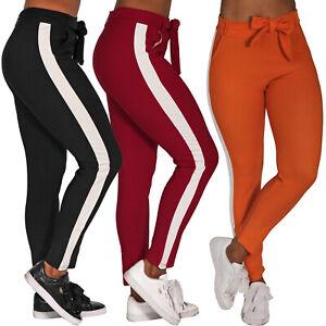 Streifen-Stretch-Hose-Binde-Guertel-Zier-Treggings-Leggings-Roehre-High-Waist-big