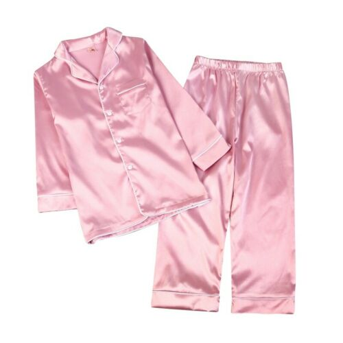 2Pcs Kids Baby Silk Satin Pajamas Boys Girls Loungewear Sleepwear Set Nightgown
