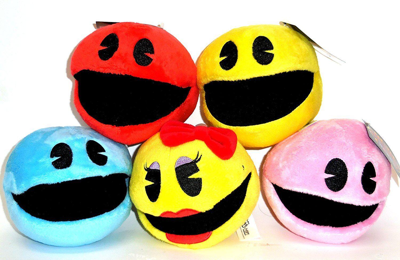 SET of 5 Pac-Man Plush 5 '' . Licensed. Brand New Pac-Man.NEW.