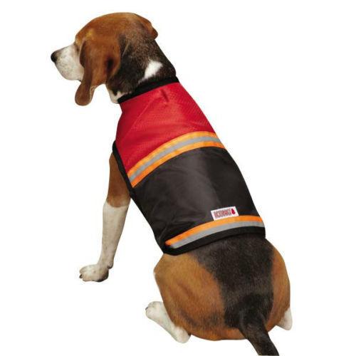 KONG biztonsági fényvisszaverő kutyaruházat vörös narancs csíkos közlekedés Kültéri kiegészítők Sz