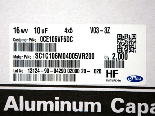 85℃ φ4x5mm SAMWHA Korea 50pc SMD Electrolytic Capacitor 10uF 16V