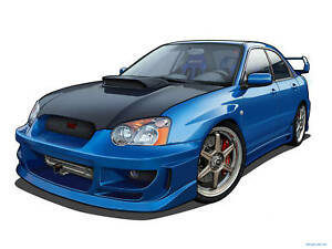 Image Is Loading Subaru Wrx Sti Turbo Fire Cartoon Vexel Wall