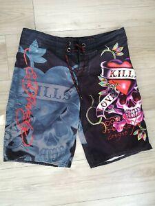 Ed-Hardy-Mens-Surf-Die-Board-Shorts-Skull-Hearts-Love-Kills-Slowly-Size-34
