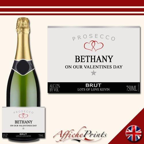 L78 personnalisé Prosecco argent st-valentin amour brut etiquette du flacon-Super Cadeau!