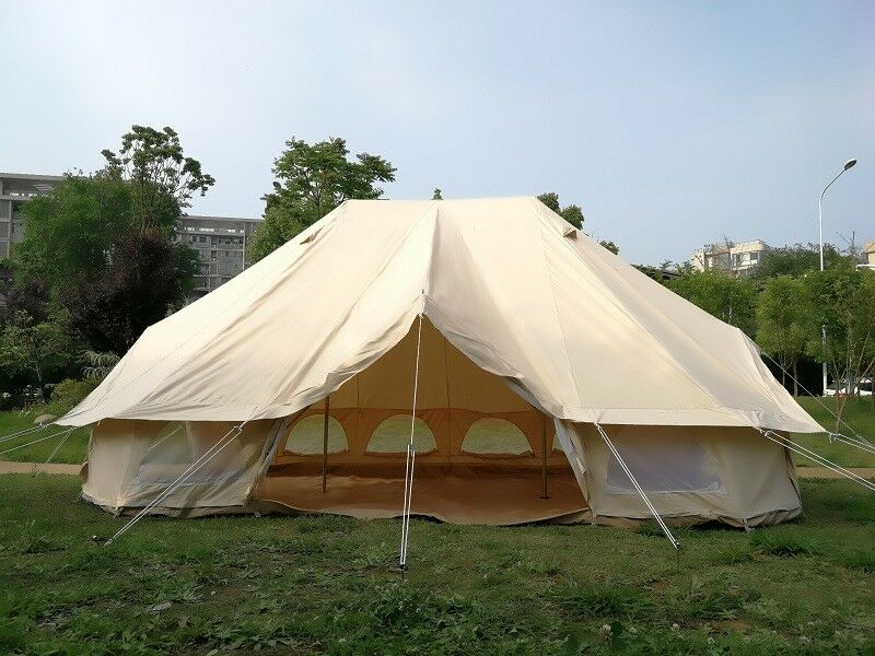 Outdoor Twin Pole of Cotton Canvas 6x4m Emperor Bell YurtTent Camping FamilyTent