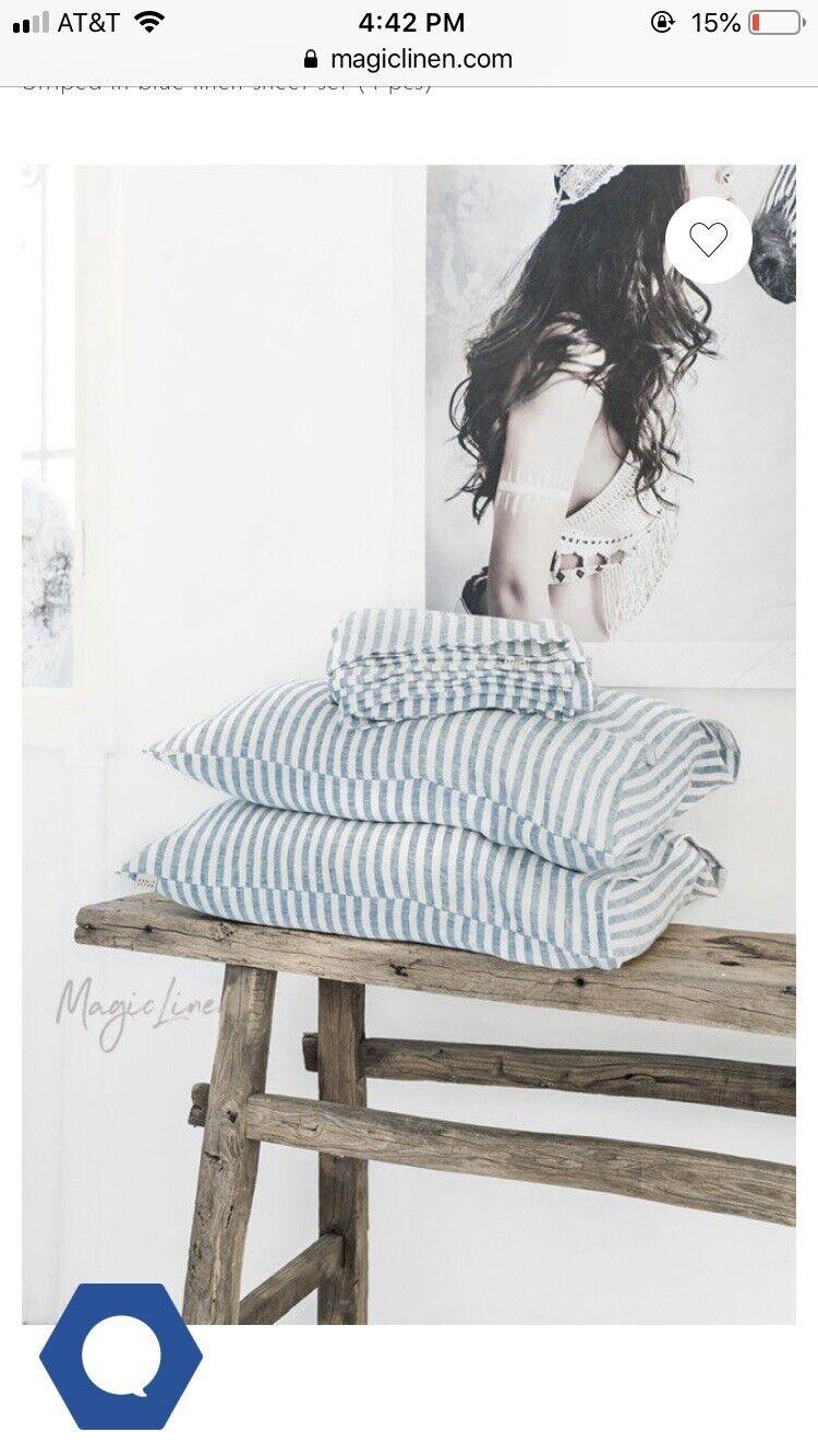 Magic Linen Striped In Blau Sheet Set