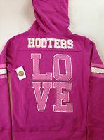 Love Hooters Girl Hoodie Jacket Pink Sequins Lightweight Full Zip Lined Hood