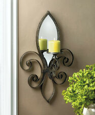 FLEUR DE LIS DISTRESSED FRAME MIRRORED CANDLE HOLDER WALL SCONCE DECOR-10016157