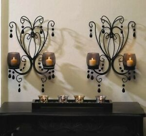 2 Smoked Glass Sconce Candle Holder Wall Decor Set Ebay