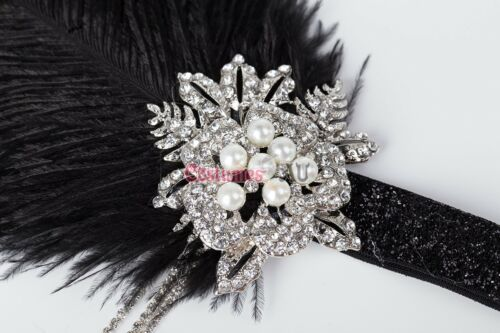1920s Headband Feather Vintage Bridal Great Gatsby Flapper 20s 20/'s Headpiece