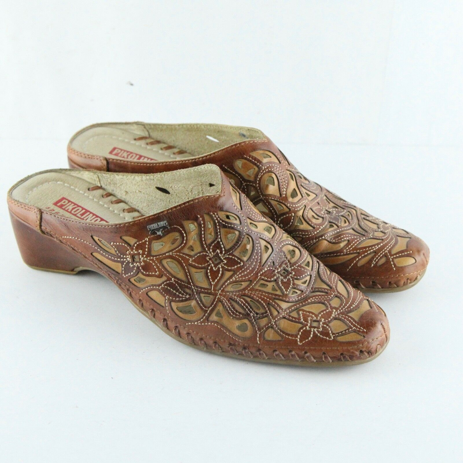 Pikolinos Brown Leather Tan Perforated Floral Cutout Mule Slide Clog shoes 40 10