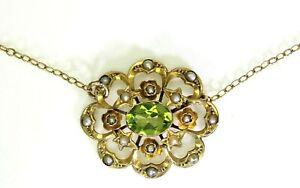 Victoriano-Peridoto-Estrellas-Y-Flores-Perla-Collar-De-Oro-Amarillo-9ct-Broche-de-barril