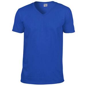 Tshirt-Royal-Blue-T-shirt-Unisex-V-Neck-Tee-Shirt-Gildan-Softstyle-Unisex-V-Tee