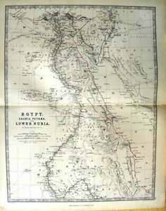 Original-Old-Antique-Print-Johnston-Map-1888-Egypt-Arabia-Petraea-Nubia-19th