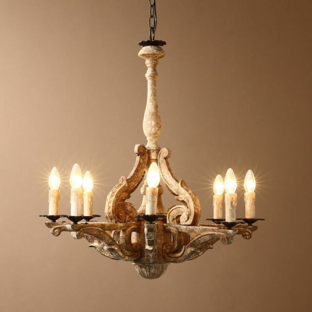 Retro French Country Chandelier Carved Wood 8 Light Lighting Ceiling Pendant