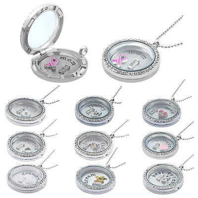Living Memory Floating Glass Love Locket Charms Necklace Pendant Chain Mum Gift