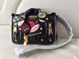 ebddc5ef12a14 Image is loading MOSCHINO-Patch-Motorcycle-Biker-Jacket-Leather-Shoulder-Bag -