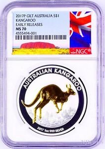 2017-P-Australia-GILDED-Silver-Kangaroo-NGC-MS-70-1-oz-Coin-w-OGP-gilt-NEW-LABEL