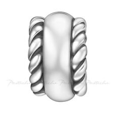 Lovelinks Bead Sterling Silver,Silver Twin Roped Cylinder Charm Jewelry TT616
