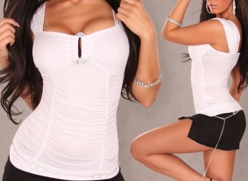 New Tops T-Shirts Black or White with Metal Bust decoration Sizes 10 12 14