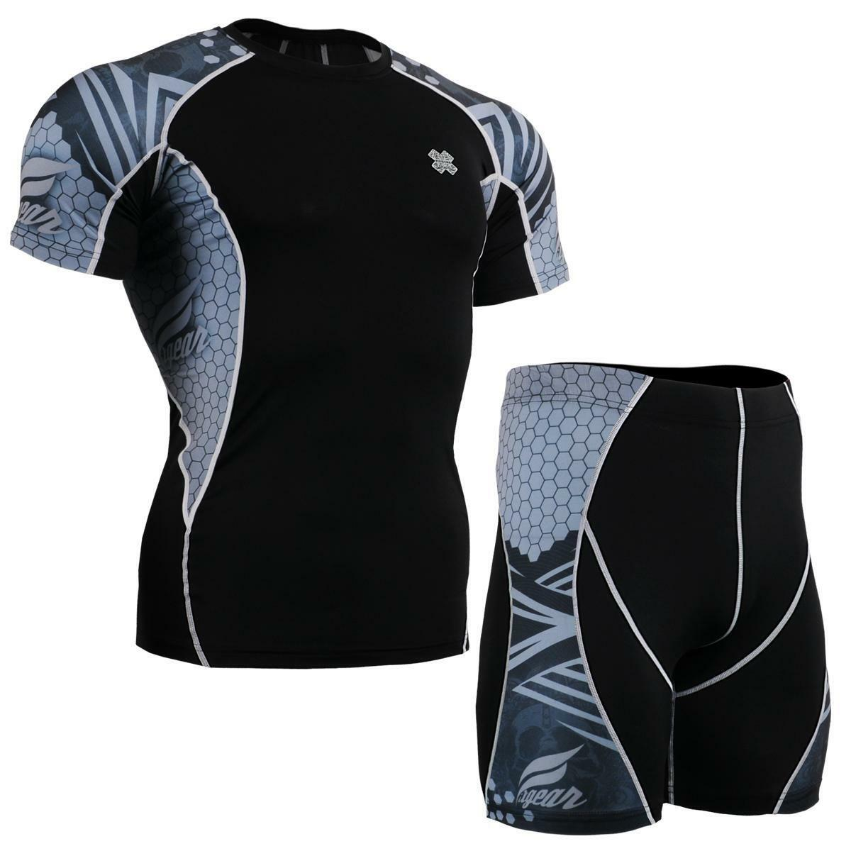 FIXGEAR C2S P2S-B41 SET Compression Shirts & Shorts Skin-tight MMA Workout Gym