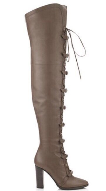 2,395  Jimmy Choo MALOY Grigio Taupe Leather Over-the-Knee Boots  Booties 35/5