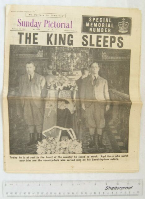 1952 Sunday Pictorial 1.925 The King Sleeps
