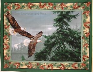 Eagle-cotton-quilting-fabric-panel-or-allover-print-Choose-design-amp-size