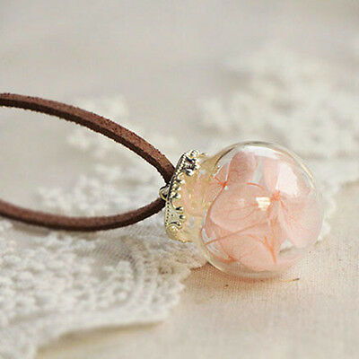 Real Dried Flowers Chrysanthemum Hydrangea Grass in Glass Orb Chain Necklace
