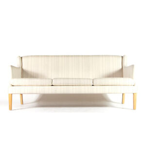 Retro Vintage Danish Modern Wool 3 Seat Seater Sofa Scandinavian 60s 70s Oak