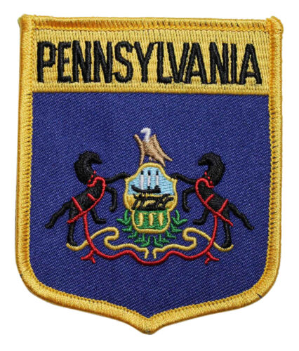 State Of Pennsylvania Shield Flag Embroidered Iron On Patch Travel 218-H