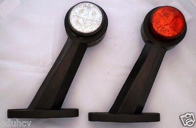 2x LED Red White 24V Rubber Body Outline Side Marker Light Trailer Truck Chassis