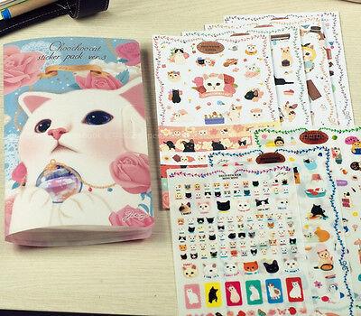 8sheet beautiful blue cover sheet Cat Diary calendar albums notebook Sticker Set