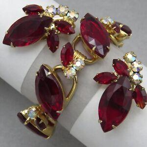 Vtg-Juliana-D-amp-E-AB-Rhinestone-Siam-Red-Marquise-Glass-Bracelet-Earrings-Set
