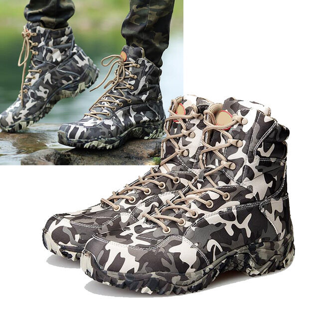 Mens Tactical Military Combat Hiking Hunting Waterproof Camo Ankle Boots shoes