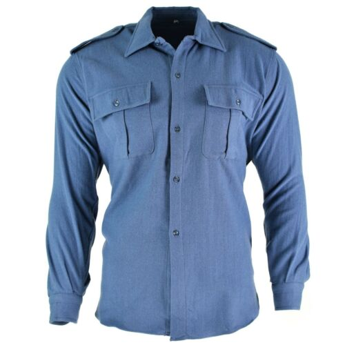 Original Italian army shirt Grey blue flannel Italy military surplus issue NEW