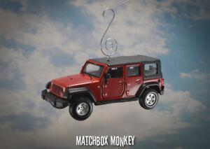 Rouge Jeep Wrangler Unlimited Rubicon 4 Porte Custom Ornement Noël 1/32 X Xj