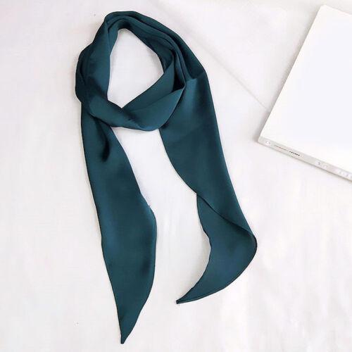Women Square Elegant Silk Feel Satin Scarf Skinny Head Neck Hair Tie Band NEW