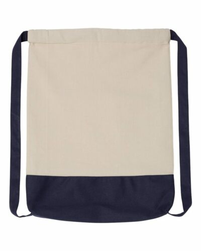 Liberty Bags 10 Ounce Cotton Canvas Contrast Bottom Drawstring Backpack 8876