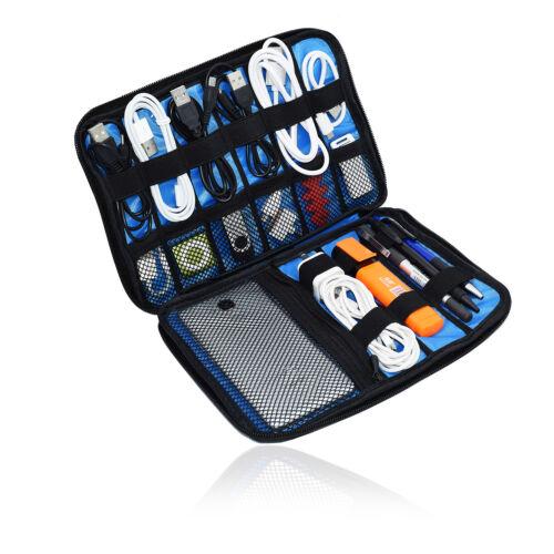 Pequeño Viaje Bolso Organizador De Cable De Electrónica caso para HUAWEI p SMART + (Nova 3i)