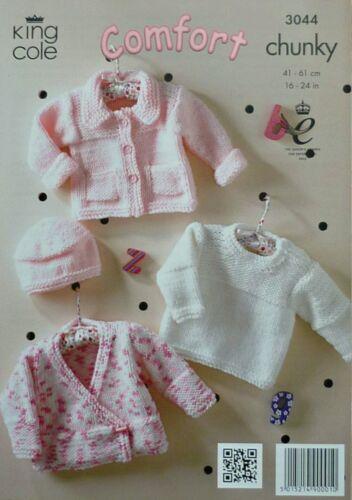 Tejer patrón de bebé tejido cardigan chaqueta suéter fácil y sombrero de Comodidad Grueso 3044