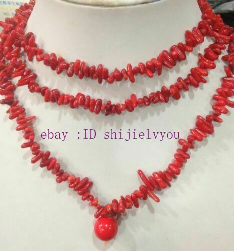 natural 4x10mm Red Branch Coral Necklace 48 inch